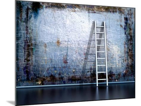 Dirty Grunge Wall With Wooden Ladder-ArchMan-Mounted Photographic Print