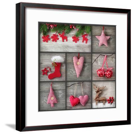 Collage of Christmas Photos over Grey Wood Background-egal-Framed Art Print