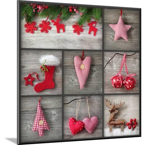Collage of Christmas Photos over Grey Wood Background-egal-Mounted Photographic Print