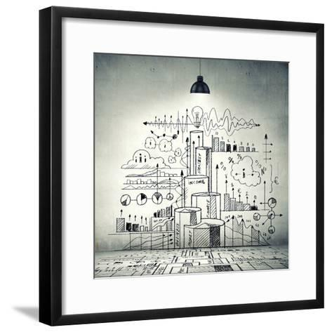 Drawn Business Plan on Wall Illuminated by Lamp-Sergey Nivens-Framed Art Print