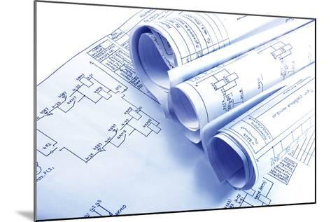 Engineering Electricity Blueprint Rolls-kaetana-Mounted Photographic Print