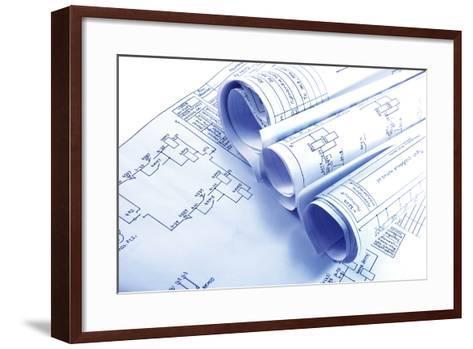 Engineering Electricity Blueprint Rolls-kaetana-Framed Art Print
