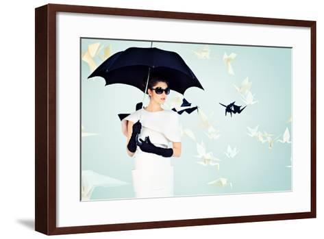 Art Fashion Photo of a Gorgeous Woman in Paper Dress-prometeus-Framed Art Print
