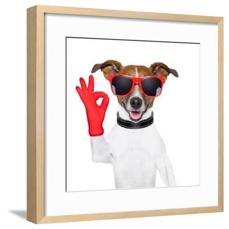 Ok Fingers Dog-Javier Brosch-Framed Art Print