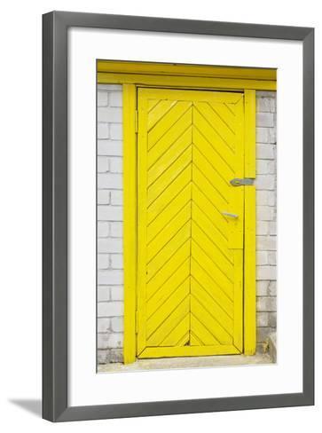 Yellow Old Wooden Door-vilax-Framed Art Print