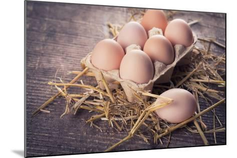 Chicken Eggs on Wooden Background-sobol100-Mounted Photographic Print