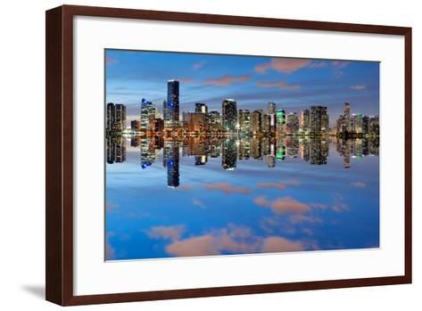 Miami Skyline Seen from Key Biscayne at Dusk with Beautiful Reflections-badboo-Framed Art Print