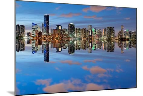 Miami Skyline Seen from Key Biscayne at Dusk with Beautiful Reflections-badboo-Mounted Photographic Print
