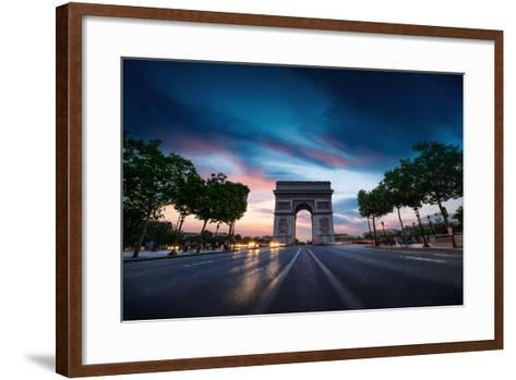 Arc De Triomphe Paris City at Sunset-dellm60-Framed Art Print