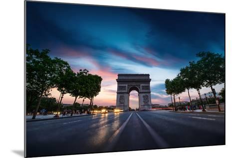 Arc De Triomphe Paris City at Sunset-dellm60-Mounted Photographic Print