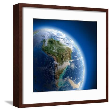 Earth With High Relief, Illuminated By The Sun-Antartis-Framed Art Print
