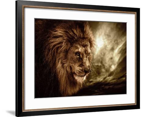 Lion Against Stormy Sky-NejroN Photo-Framed Art Print