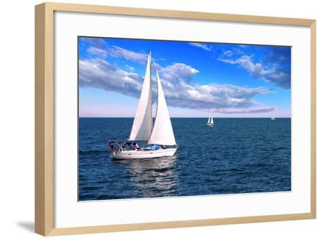 Sailboat Sailing in the Morning with Blue Cloudy Sky-elenathewise-Framed Art Print