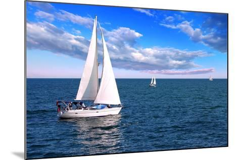 Sailboat Sailing in the Morning with Blue Cloudy Sky-elenathewise-Mounted Photographic Print