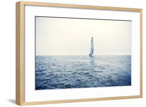 Sailing Ship Yachts with White Sails-Andrew Bayda-Framed Art Print