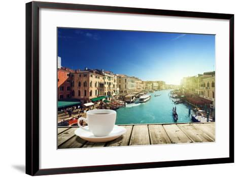 Coffee on Table and Venice in Sunset Time, Italy-Iakov Kalinin-Framed Art Print