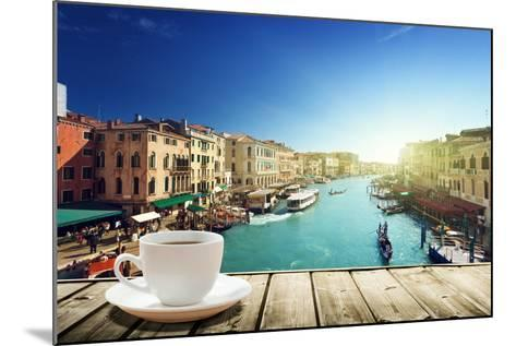 Coffee on Table and Venice in Sunset Time, Italy-Iakov Kalinin-Mounted Photographic Print