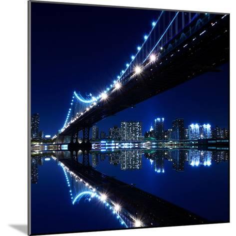 New York City Skyline and Manhattan Bridge at Night-Zigi-Mounted Photographic Print