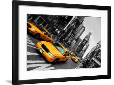 New York City Taxi, Blur Focus Motion, times Square-upthebanner-Framed Art Print