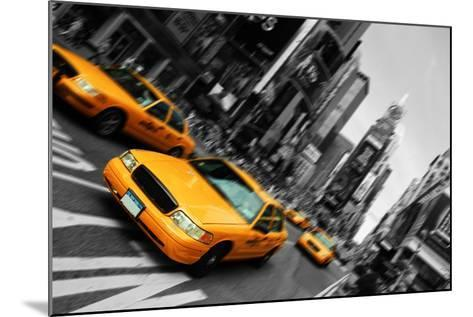 New York City Taxi, Blur Focus Motion, times Square-upthebanner-Mounted Photographic Print