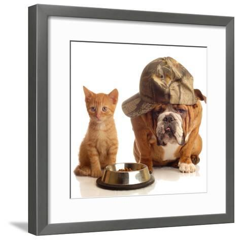 Bulldog and Cat at Food Dish Together-Willee Cole-Framed Art Print