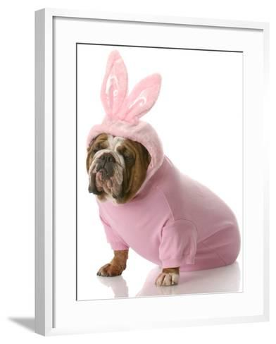 Dog Dressed Up as Easter Bunny-Willee Cole-Framed Art Print