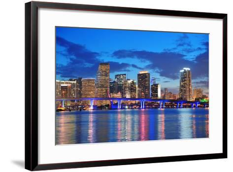 Miami City Skyline Panorama at Dusk with Urban Skyscrapers and Bridge over Sea with Reflection-Songquan Deng-Framed Art Print