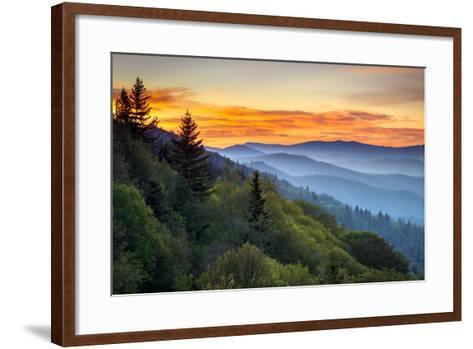 Great Smoky Mountains National Park Scenic Sunrise Landscape at Oconaluftee-daveallenphoto-Framed Art Print