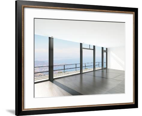 Empty Room Interior with Floor to Ceiling Windows and Scenic View-PlusONE-Framed Art Print