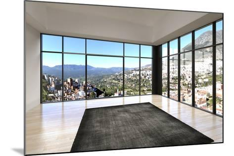Empty Room Interior with Floor to Ceiling Windows and Scenic View-PlusONE-Mounted Photographic Print