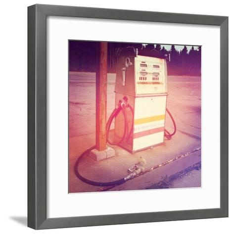 Old Gas Pump-melking-Framed Art Print