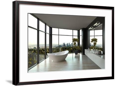Modern White Luxury Bathroom Interior-PlusONE-Framed Art Print