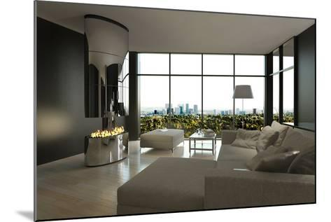Living Room Interior with Open Fireplace and Floor to Ceiling Windows-PlusONE-Mounted Photographic Print