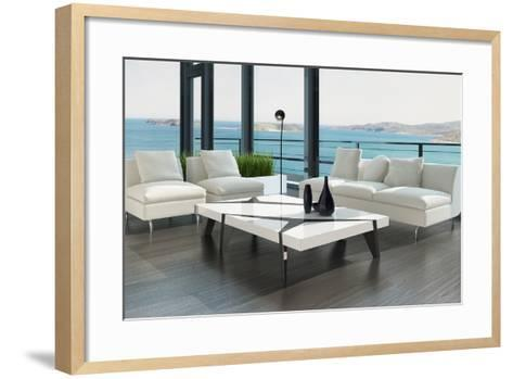 Luxury Living Room Interior with White Couch and Seascape View-PlusONE-Framed Art Print