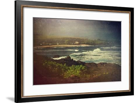 Surfer on a Waverunner in the Water at Hookipa Beach in Maui with the West Maui Mountains-pdb1-Framed Art Print