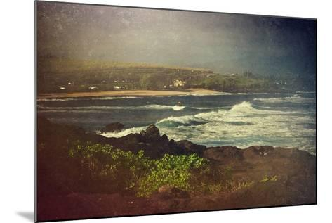 Surfer on a Waverunner in the Water at Hookipa Beach in Maui with the West Maui Mountains-pdb1-Mounted Photographic Print