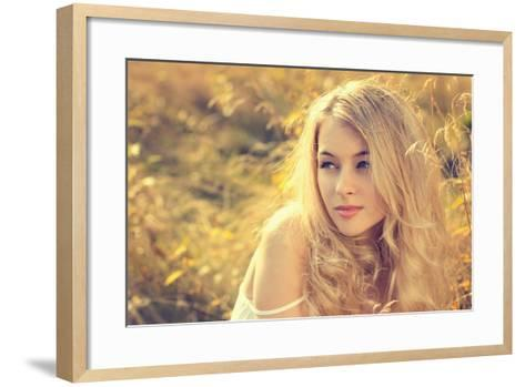Portrait of Blonde Woman on Nature Background-brickrena-Framed Art Print