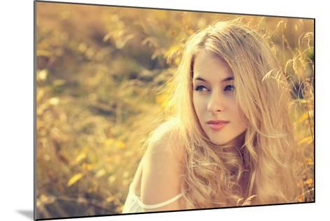 Portrait of Blonde Woman on Nature Background-brickrena-Mounted Photographic Print