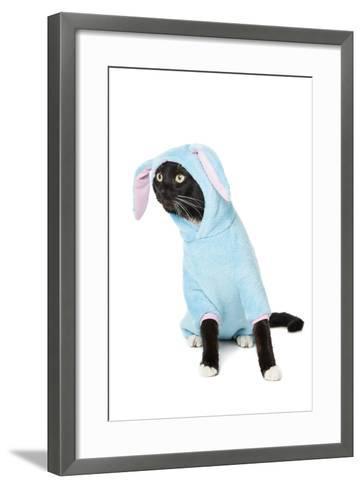 Black Cat in a Bunny Suit-vivienstock-Framed Art Print