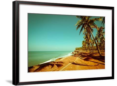 Beautiful Sunny Day at Tropical Beach with Palm Trees, Ocean Landscape in Vintage Style, India-Im Perfect Lazybones-Framed Art Print