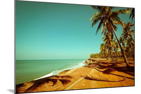 Beautiful Sunny Day at Tropical Beach with Palm Trees, Ocean Landscape in Vintage Style, India-Im Perfect Lazybones-Mounted Photographic Print