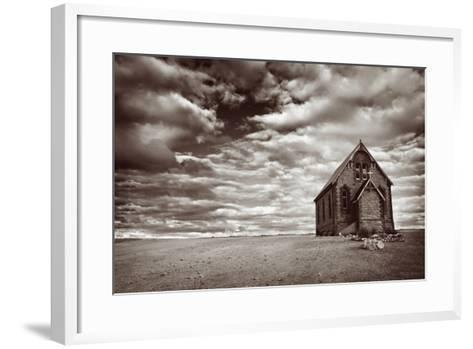 Abandoned Church in the Desert, with Stormy Skies-Robyn Mackenzie-Framed Art Print
