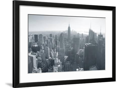 New York City Skyline Black and White in Midtown Manhattan Aerial Panorama View in the Day.-Songquan Deng-Framed Art Print