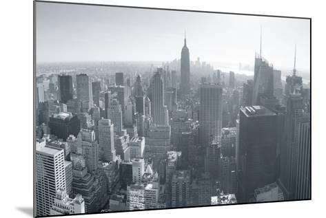 New York City Skyline Black and White in Midtown Manhattan Aerial Panorama View in the Day.-Songquan Deng-Mounted Photographic Print