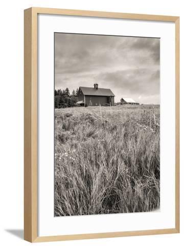 B&W of Farm Field and Barn.-gjphotography-Framed Art Print