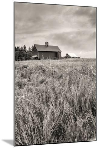 B&W of Farm Field and Barn.-gjphotography-Mounted Photographic Print
