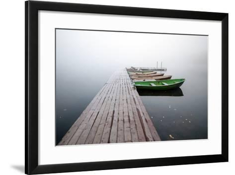 Autumn. Small Pier with Boats on Lake in Cold Still Foggy Morning-Eugene Sergeev-Framed Art Print