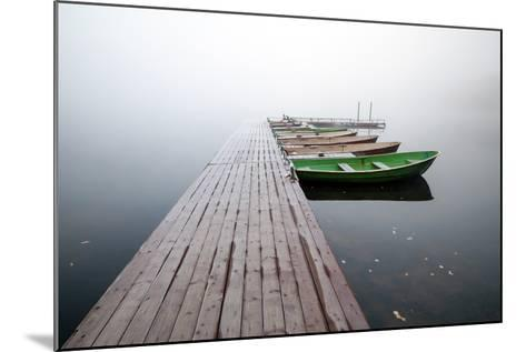 Autumn. Small Pier with Boats on Lake in Cold Still Foggy Morning-Eugene Sergeev-Mounted Photographic Print