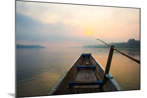 Morning of the Lake with  the Boat-jannoon028-Mounted Photographic Print