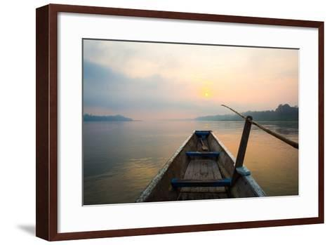 Morning of the Lake with  the Boat-jannoon028-Framed Art Print